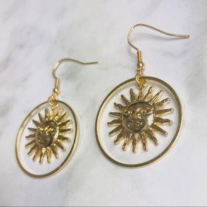 New! Vintage Sun God Hoop Dangle Earrings Gold